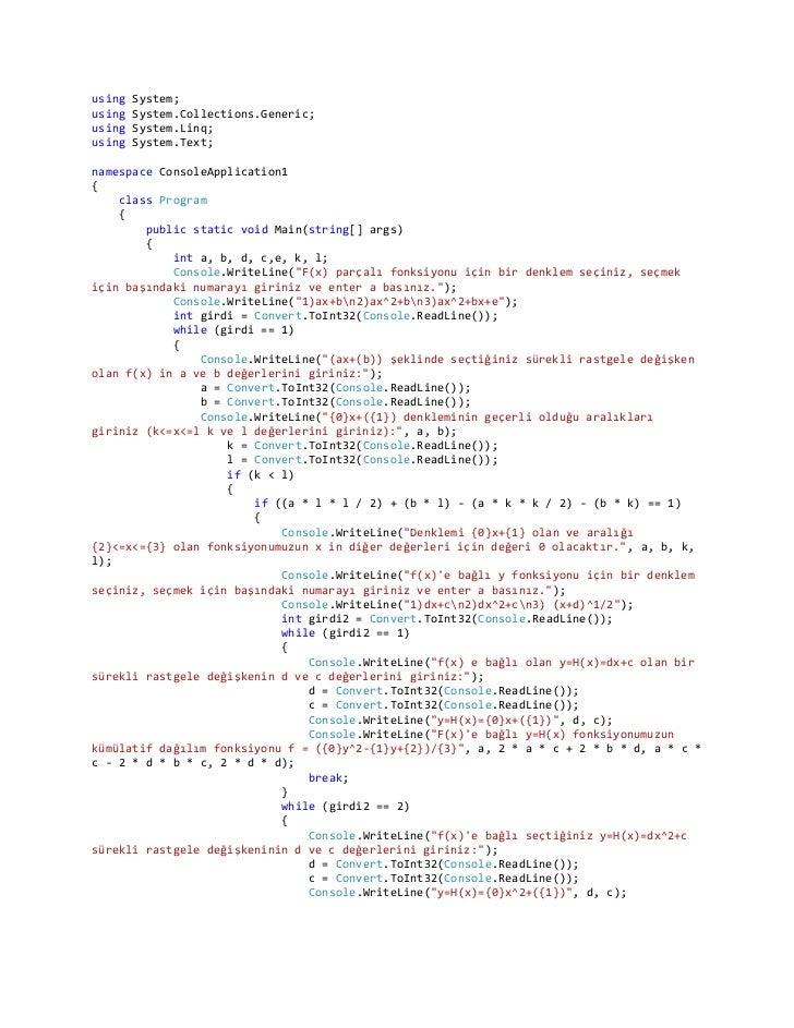Sürekli sürekli fonksiyonun program kodlari