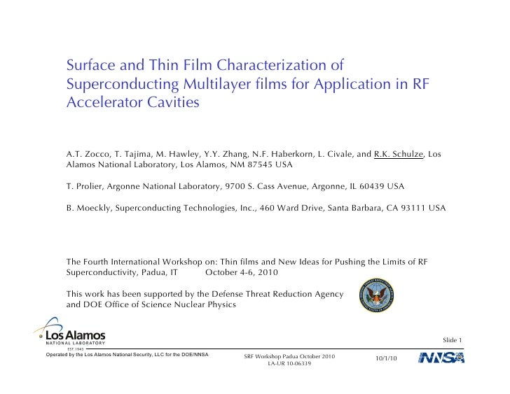 Surface and Thin Film Characterization of         Superconducting Multilayer films for Application in RF         Accelerato...