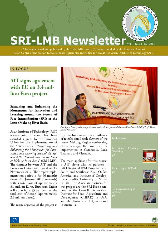 SRI-LMB Newsletter  Vol. 1, Issue 1: Year 2013  A bi-annual newsletter published by the SRI-LMB Project (A Project Funded ...