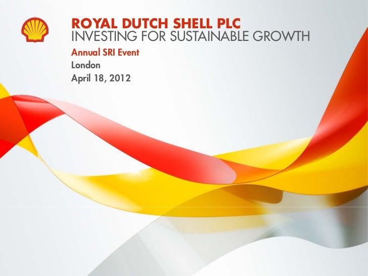 Socially responsible investors briefing, London, April 18th 2012