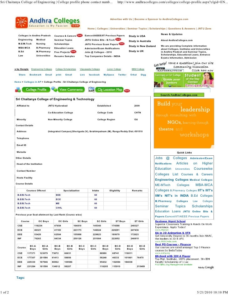 Sri Chaitanya College of Engineering | College profile phone contact numb...                                            ht...