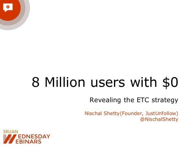 8 Million users with $0 Revealing the ETC strategy Nischal Shetty(Founder, JustUnfollow) @NischalShetty