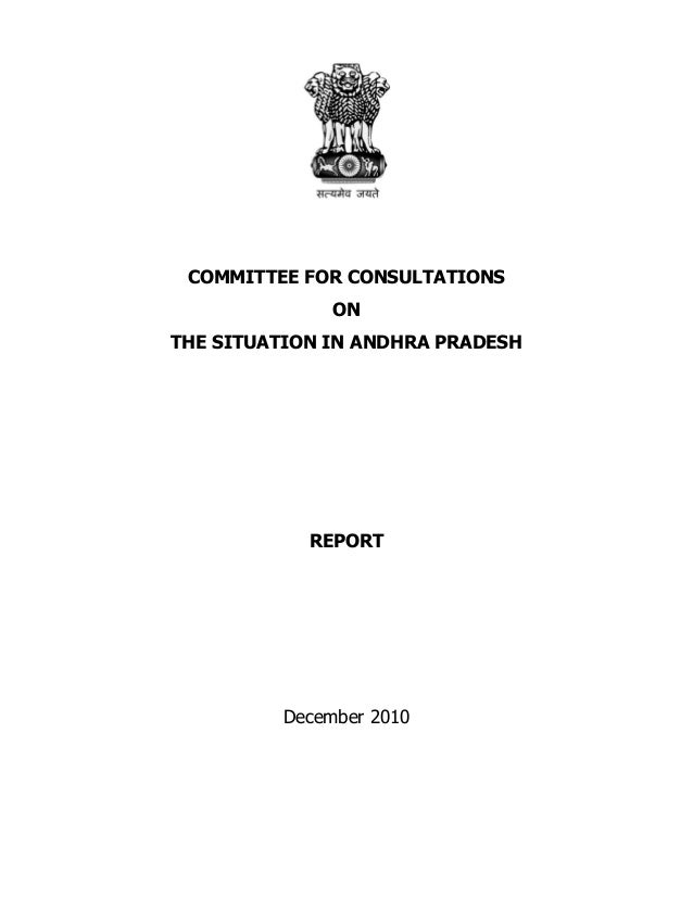 COMMITTEE FOR CONSULTATIONS ON THE SITUATION IN ANDHRA PRADESH  REPORT  December 2010