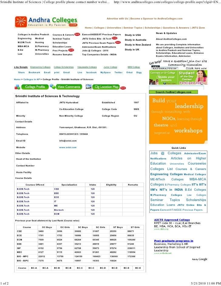 Srinidhi Institute of Sciences | College profile phone contact number websi...                                      http:/...