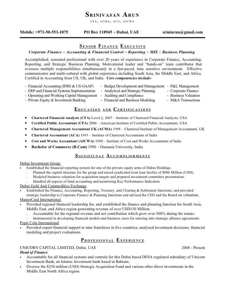 srinivasan arun resume
