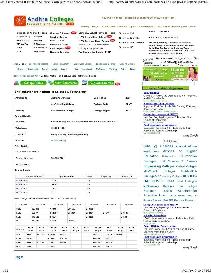 Sri Raghavendra Institute of Science | College profile phone contact numb...                                            ht...