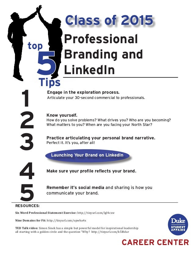 1 2 3 4 5 top 5Tips RESOURCES: CAREER CENTER Professional Branding and LinkedIn Engage in the exploration process. Articul...