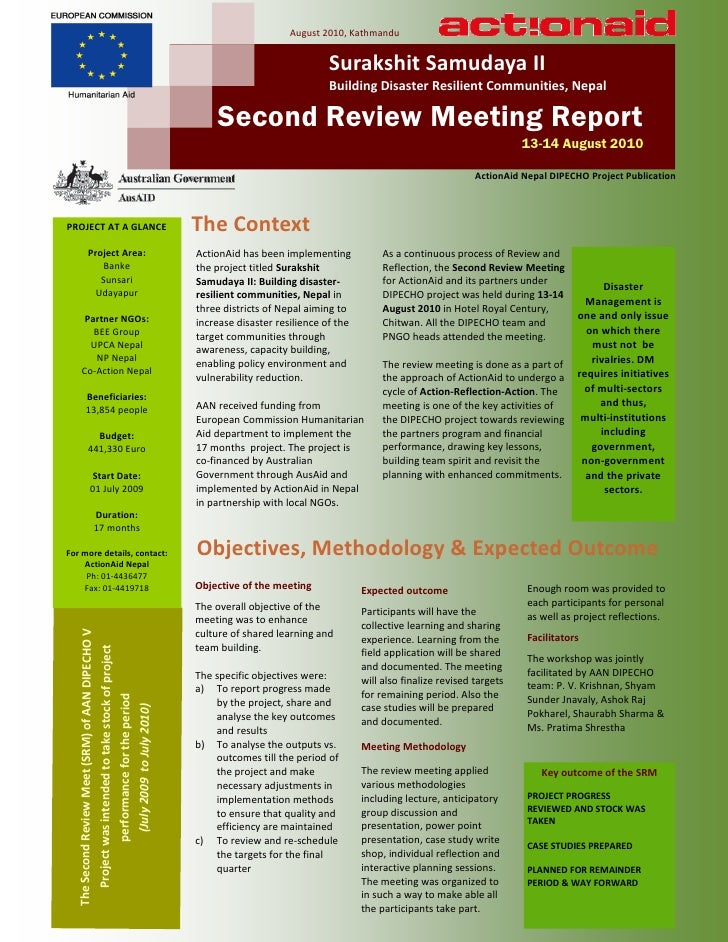 Srm brief report dipecho