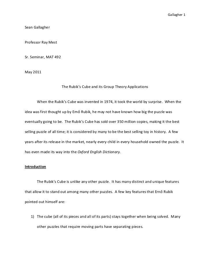 Sean Gallagher - Sr. Seminar Paper 40 Pages
