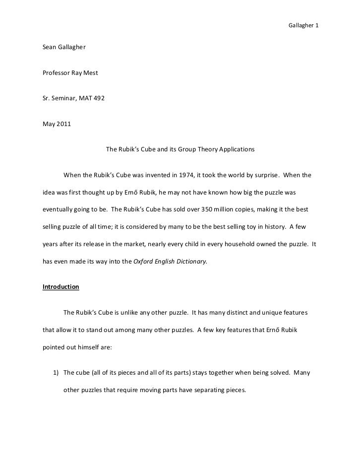 Sean Gallagher - Sr. Seminar Paper 40 Pages