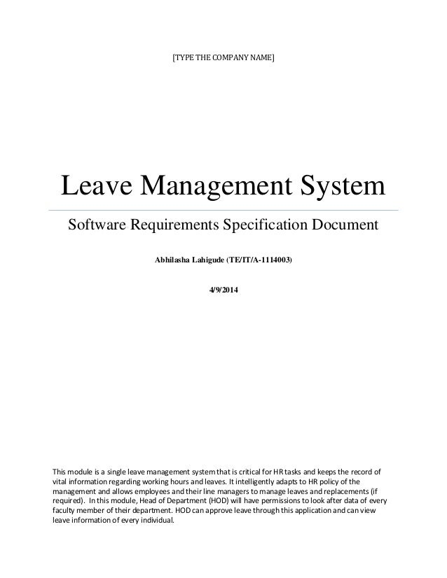 Leave Management System: Software Requirements Specification Document(SRS)