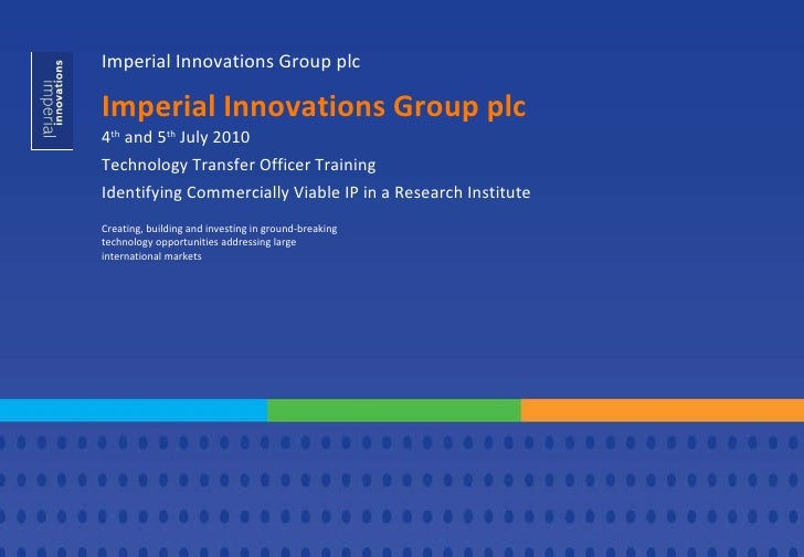 Identifying Commercially Viable IP in a Research Institute