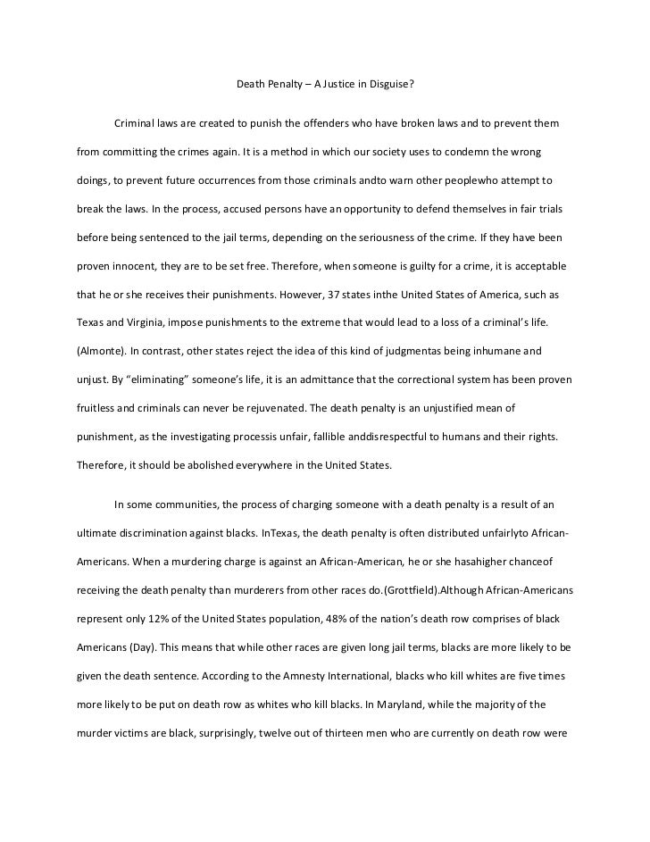 Research paper on the death penalty