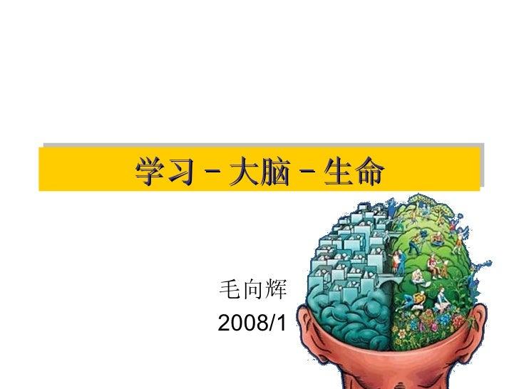 学习 - 大脑 - 生命 毛向辉 2008/1