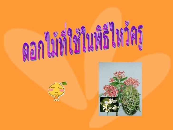 ดอกไม้ที่ใช้ในพิธีไหว้ครู