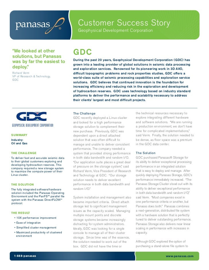 "Customer Success Story                                               Geophysical Development Corporation""We looked at othe..."