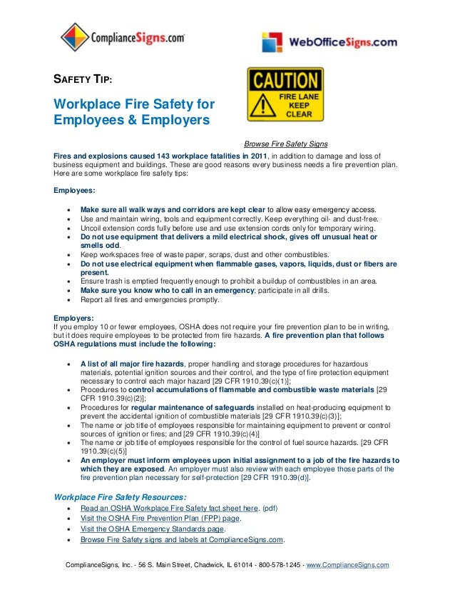 Workplace Fire Safety Tips for - 158.8KB