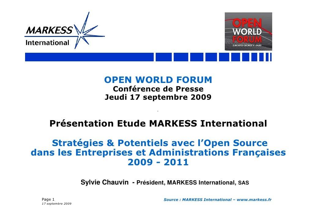 OPEN WORLD FORUM                                Conférence de Presse                              Jeudi 17 septembre 2009 ...
