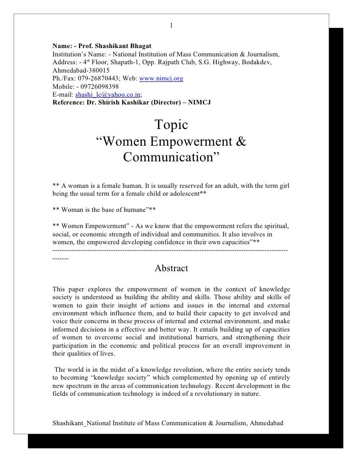 empowerment paper essay Women empowerment is promoting their standard of living compared to menit can be achieved by social, educational and economic empowerment of womensolved sample essay.