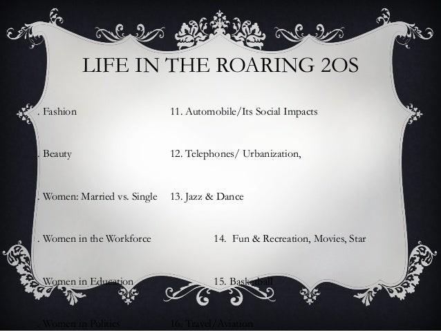 LIFE IN THE ROARING 2OS. Fashion                     11. Automobile/Its Social Impacts. Beauty                      12. Te...