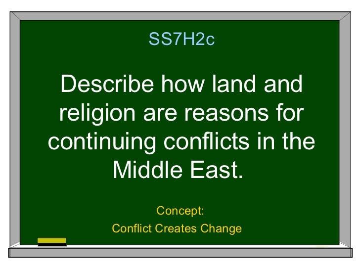 SS7H2c Describe how land and religion are reasons forcontinuing conflicts in the       Middle East.               Concept:...