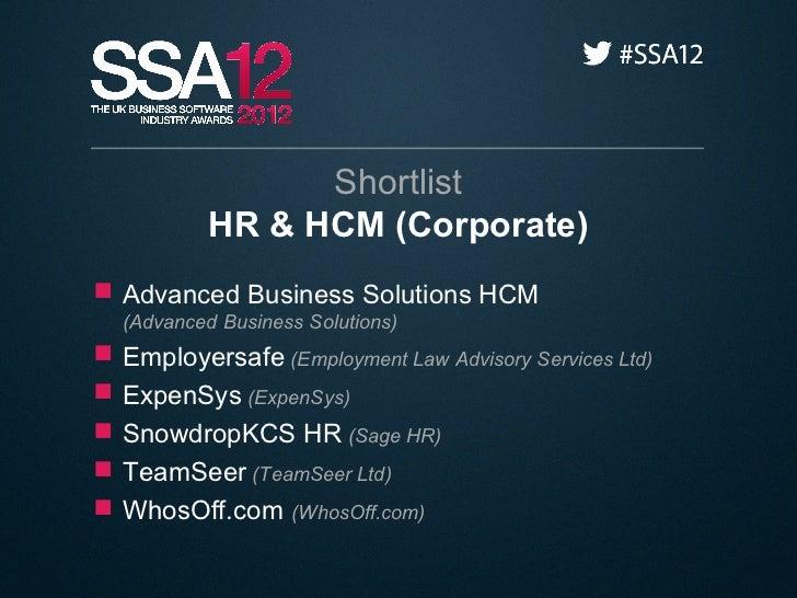 Shortlist             HR & HCM (Corporate) Advanced Business Solutions HCM    (Advanced Business Solutions)   Employersa...