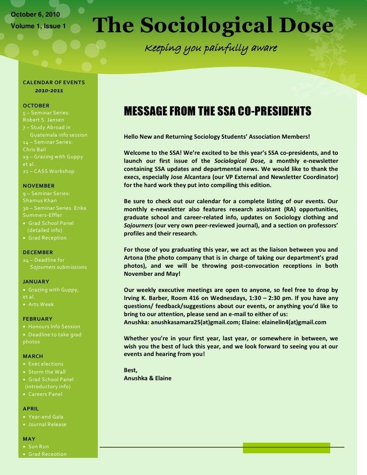 SSA E-newsletter (Edition 1 - Oct. 6, '10)