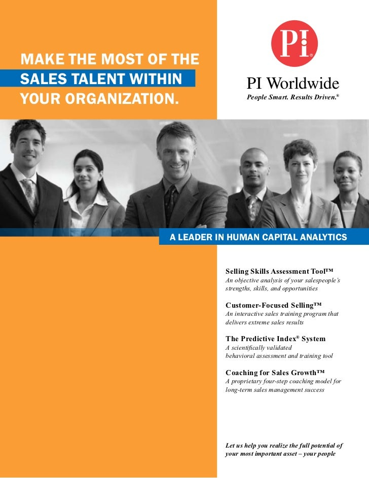 Make the Most of thesales talent withinyour organization.                 People Smart. Results Driven.®                a ...