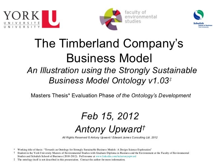 Strongly Sustainable Business Model Ontology - Example -  Timberland - Summary v4.0