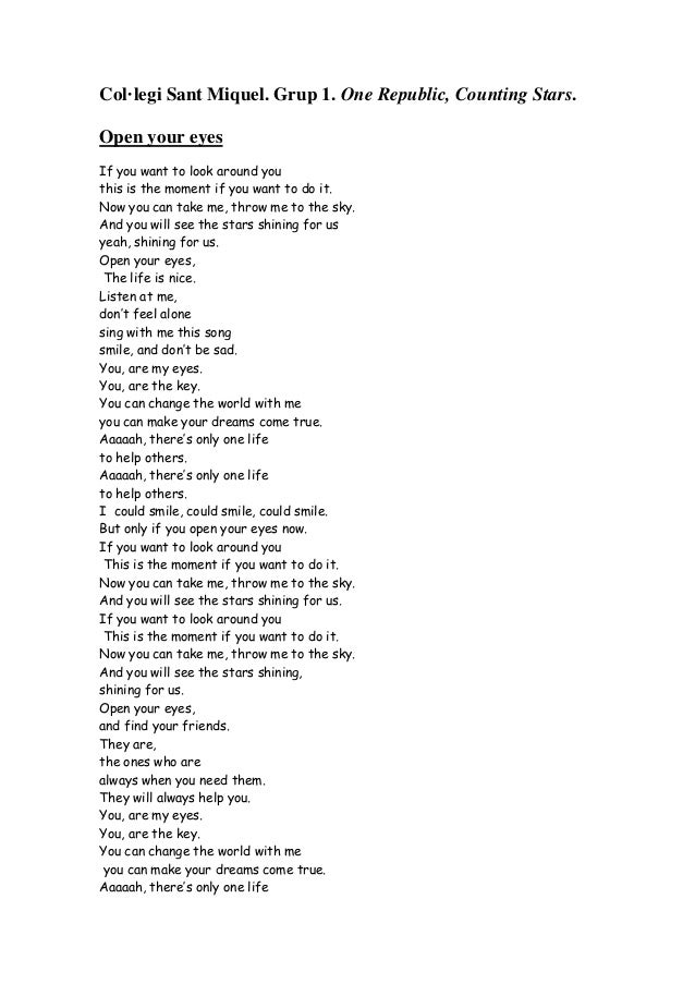 analysis of song lyrics counting stars If i recall, the lyrics in the version i know vary a bit as the song goes on anyway  and the words are not always distinct from a point of view of.
