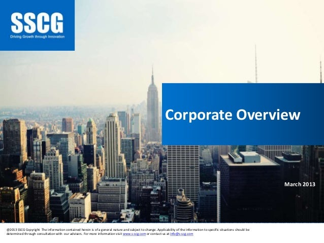 Sub-Saharan Consulting Group (SSCG) - Corporate Profile - 2013