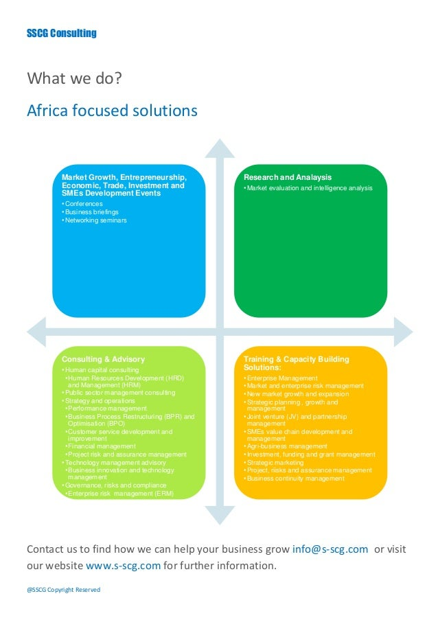 SSCG ConsultingWhat we do?Africa focused solutions           Market Growth, Entrepreneurship,               Research and A...