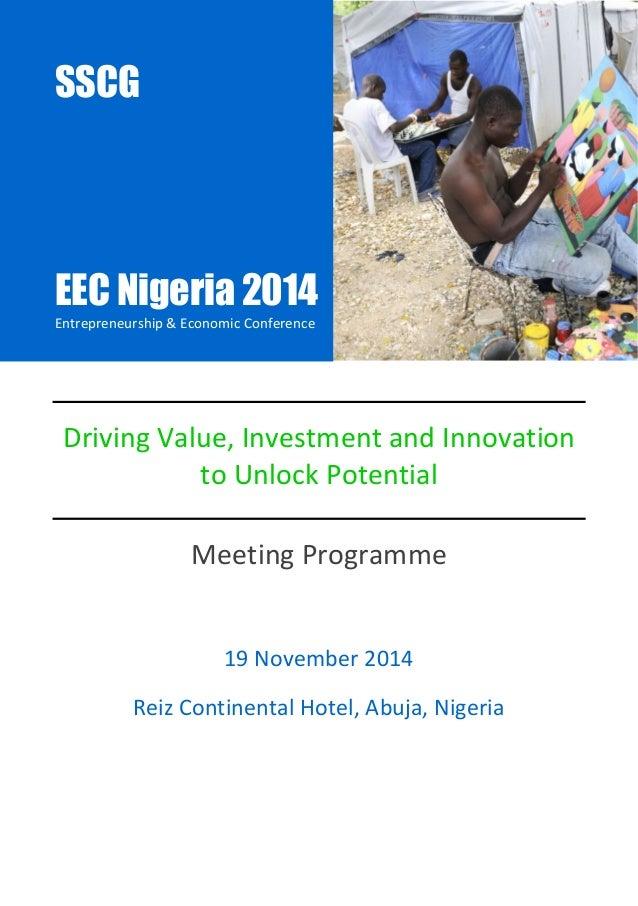 EEC Nigeria 2014  Entrepreneurship & Economic Conference  SSCG |Events |NEEGC 2014 1  Driving Value, Investment and Innova...