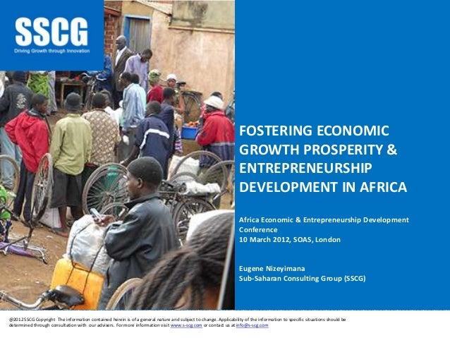 Fostering Economic Growth Prosperity and Entrepreneurship Development in Africa