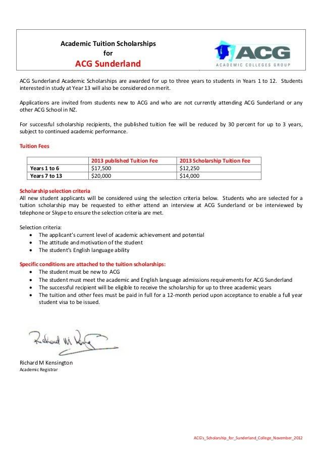 S scholarship for_sunderland_college_november_2012