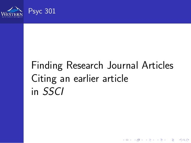 Psyc 301 Finding Research Journal Articles Citing an earlier article in SSCI