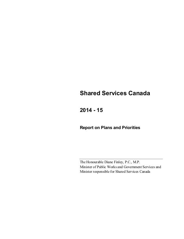Shared Services Canada - Reports on Plans and Priorities 2014-2015