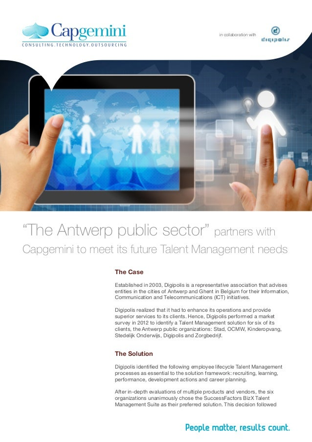 """The Antwerp Public Sector"""" Partners with Capgemini to Meet its Future Talent Management Needs"""