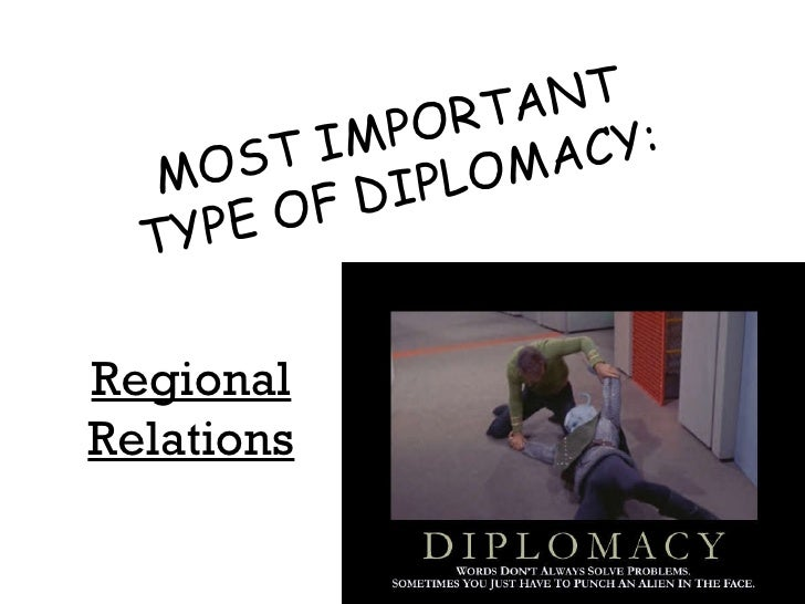 MOST IMPORTANT TYPE OF DIPLOMACY: Regional Relations