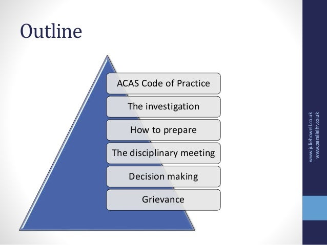 acas code of practice Background the acas code of practice on disciplinary and grievance procedures came into effect on 6 april 2009 a failure to follow the code will not, in itself, make a person or organisation liable.