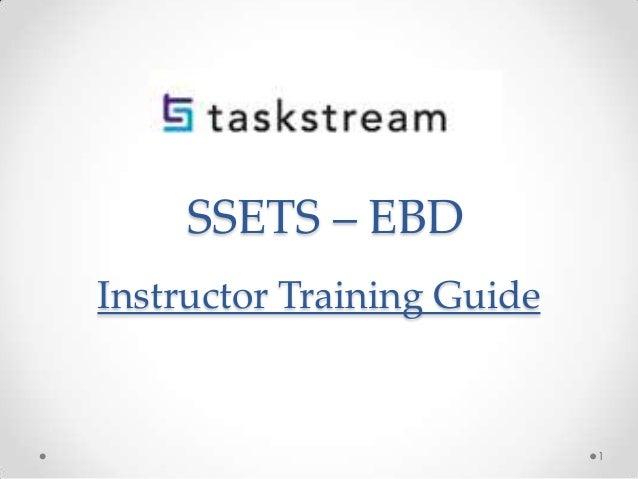 SSETS – EBD Instructor Training Guide  1