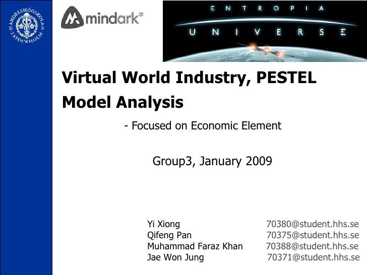 Virtual World Industry, PESTEL Model Analysis   - Focused on Economic Element Group3, January 2009 Yi Xiong  [email_addres...