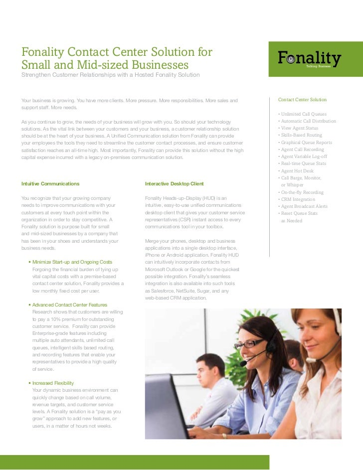 Fonality Contact Center Solution forSmall and Mid-sized BusinessesStrengthen	Customer	Relationships	with	a	Hosted	Fonality...