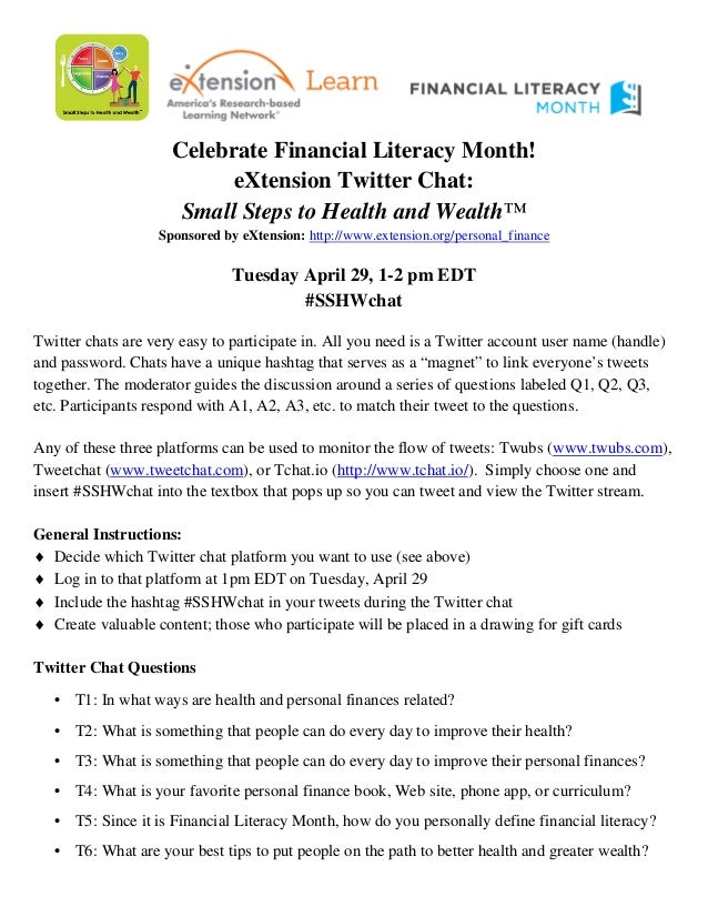 Celebrate Financial Literacy Month! eXtension Twitter Chat: Small Steps to Health and Wealth™ Sponsored by eXtension: http...