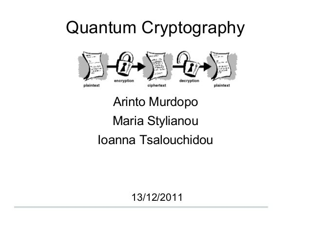 Quantum CryptographyArinto MurdopoMaria StylianouIoanna Tsalouchidou13/12/2011