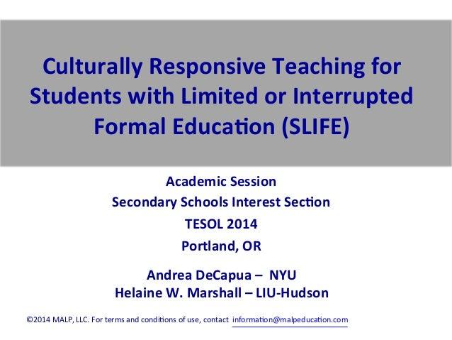 SSIS Academic Session Marshall DeCapua TESOLl 2014