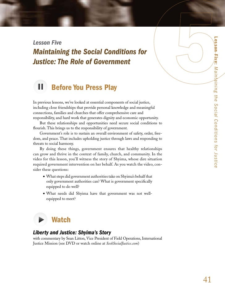 Lesson Five: Maintaining the Social Conditions for Justice Lesson Five Maintaining the Social Conditions for Justice: The ...