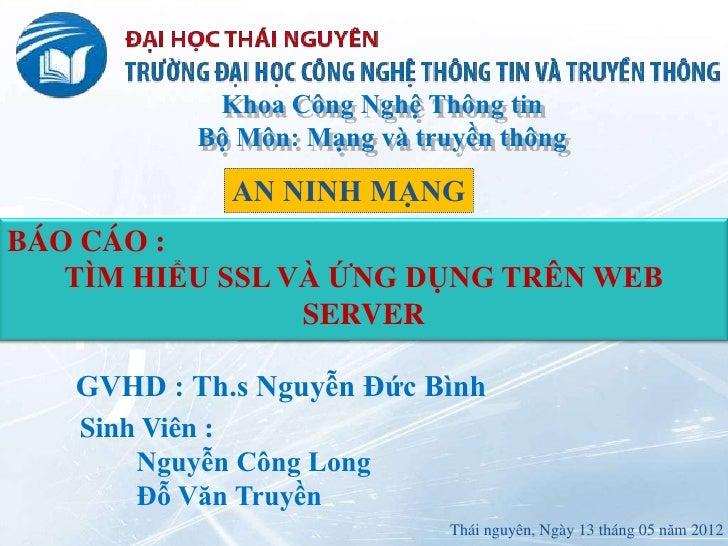 TIM HIEU SSL VA UNG DUNG TREN WEB SERVER
