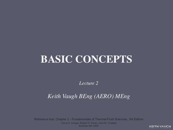 BASIC CONCEPTS                                   Lecture 2         Keith Vaugh BEng (AERO) MEngReference text: Chapter 2 -...