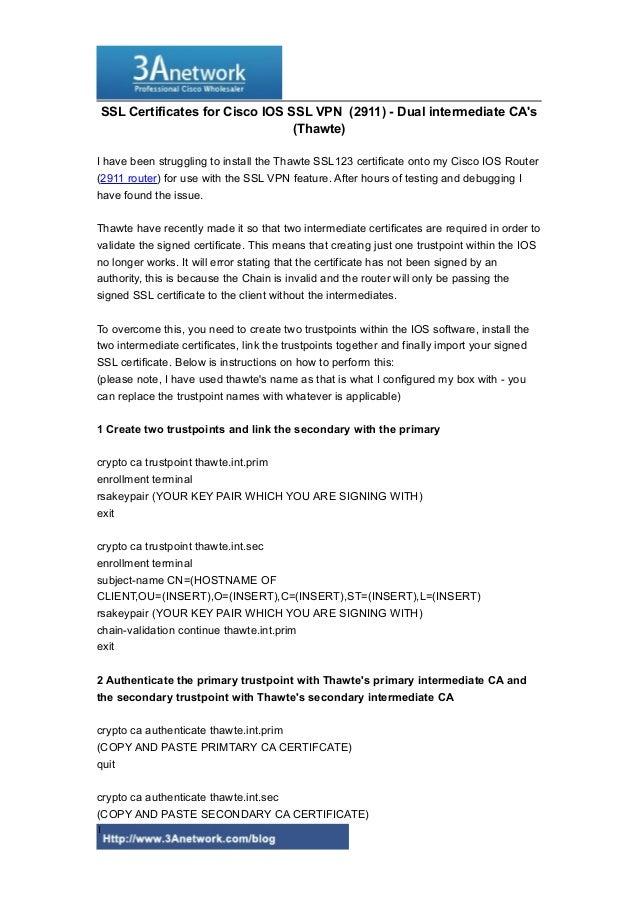 Ssl certificates for cisco ios ssl vpn  (2911 router)